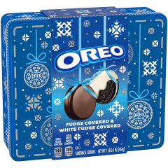 Oreo Fudge & White Fudge Covered Cookies Holiday Tin