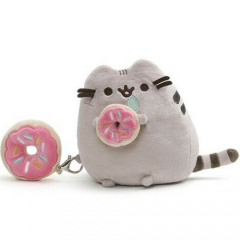 Pusheen Plush Holding Donut with Keychain