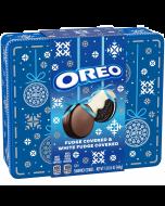Oreo Fudge & White Fudge Covered Cookies Holiday Tin